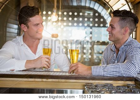 Two men having a glass of beer in bar