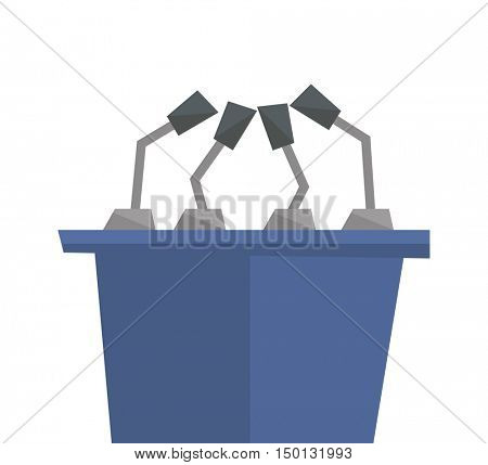 Seminar speech podium with microphones vector flat design illustration isolated on white background.