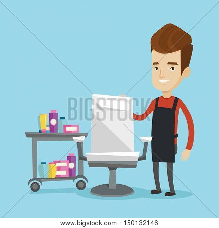 Young caucasian barber standing near armchair and table with cosmetics in barber shop. Professional hairdresser standing at workplace in beauty saloon. Vector flat design illustration. Square layout.