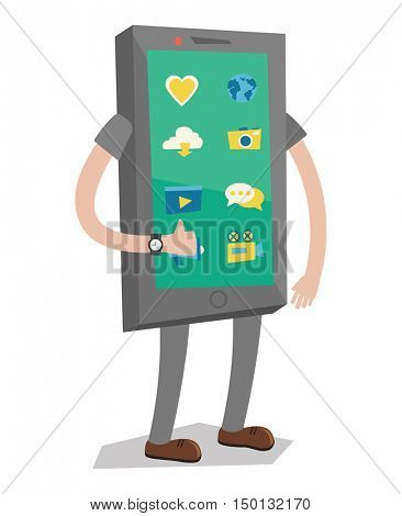 Smartphone with arms and legs showing thumb up vector flat design illustration isolated on white background.
