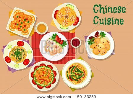 Chinese cuisine lunch icon with shrimp noodles, pork noodles with spinach, mushroom and bean noodles, chicken roll stuffed ham, sweet pork with candied fruit, spicy pork, batter lamb