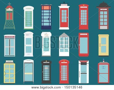 set of telephone boxes from the world