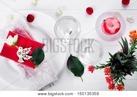 Close Up Of Detail On Wedding Breakfast Dining Table Setting With Dove