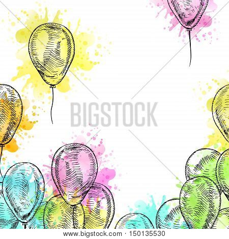 Frame with balloons on white background. Vector sketch for holidays. Design for cards isolated. Black white balloons with watercolor. Doodle design. Retro vintage style. Vector illustration.