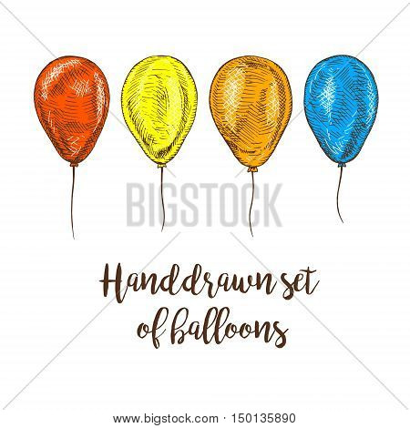 Hand drawn set of balloons. Vector sketch for holidays. Design for cards isolated. Colored balloons. Doodle design. Retro vintage style. Vector illustration.