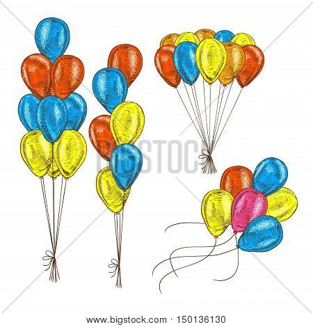 Hand drawn set of balloons. Bunch of balloons. Vector sketch for holidays. Design for cards isolated. Colored balloons. Doodle design. Retro vintage style. Vector illustration.