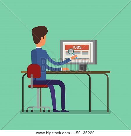 Job search concept. Man looking for a job on the Internet. Flat design, vector illustration.