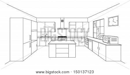 Sketch modern kitchen plan with island. Single point perspective line drawing. Kitchen project interior design 3d. Vector illustration on white background. Module system.