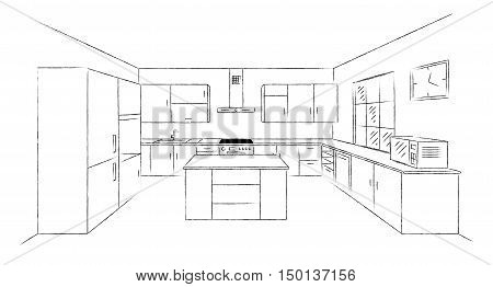 Sketch hand drawing kitchen interior plan with island. Vector kitchen project illustration in perspective. Brush line draw design.