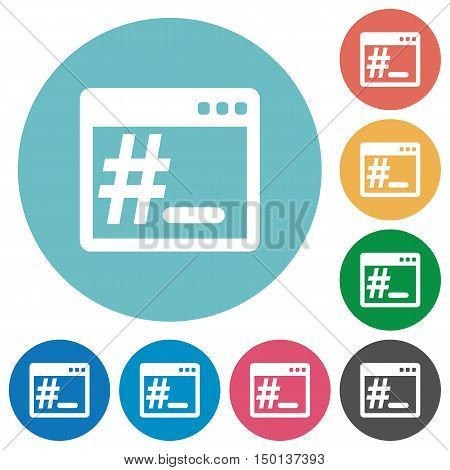 Flat operating system root terminal icon set on round color background.