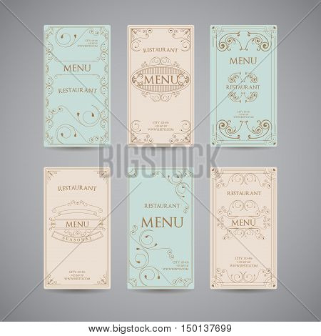 Set Of Vintage Luxury Greeting Restaurant Menu Design Template with Flourish Art Deco Frame Elegant Border and Flourishes Corner Elements