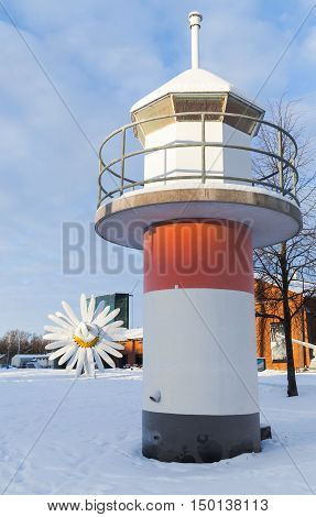 Port Of Turku, Finland In Cold Winter Day
