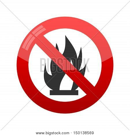 No Fire Vector Sign, Vector illustration on white background