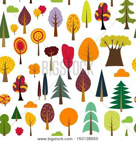 Colorful autumn seamless pattern of different trees and bushes. Vector forest illustration on white background. Simple cartoon flat style. For design textile fabric paper, wallpaper, kids. Wrapping.
