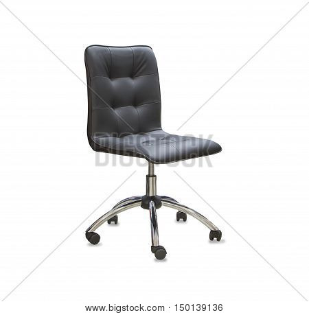 The modern office chair from black leather