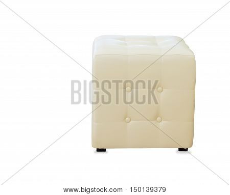 Beige pouf ottoman isolated over white background