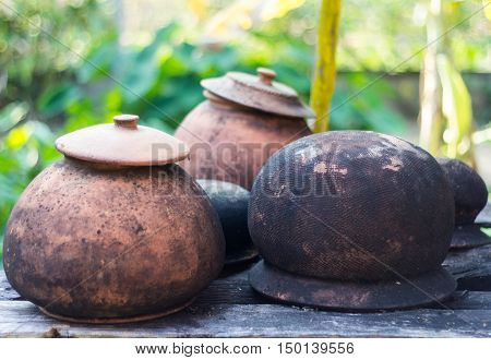 closeup old clay pot kitchenware vintage style