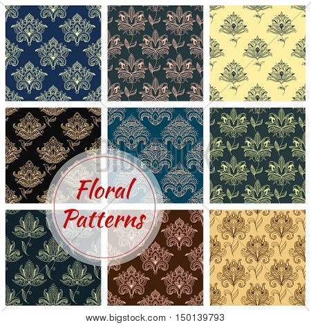 Paisley floral seamless patterns set with dainty flowers, decorated by ethnic indian ornament with swirls and curlicues. Fabric print, interior or wallpaper design