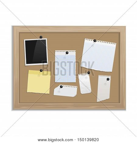 Cork board with pinned paper notepad sheets realistic vector illustration. vector illustration board for notes.