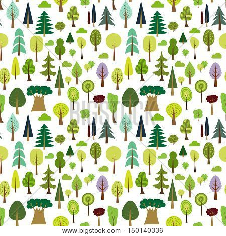 Colorful seamless pattern of different trees and bushes. Vector forest illustration on white background. Simple cartoon flat style. The best for design textile fabric paper, wallpaper, kids. Wrapping.