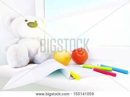 Teddy bear apples album and colored pencils on the windowsill. 3D illustration