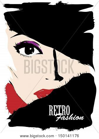 Fashion girl in sketch-style. Fashion woman face. Vector illustration.