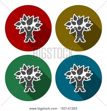 Child tree icon set with long shadow