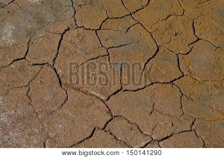 Colorful dry saline soil surface with salt stainx and deep black cracks