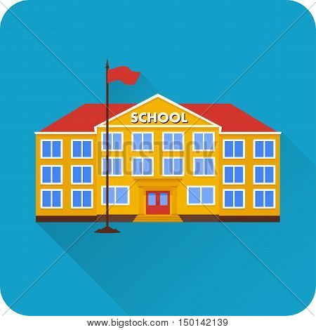 Flat icon of school building with long shadow on blue background. Vector illustration.