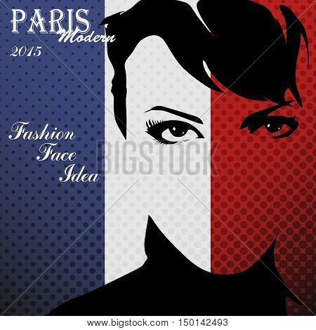 Paris vintage grunge poster, vector illustration.Fashion woman face