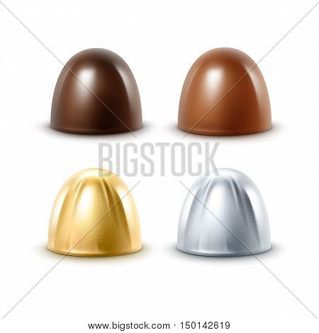 Vector Set of Realistic Dark Black Bitter Milk Chocolate Candies in  Golden Silver Glossy Foil Wrapper Close up Isolated on White Background