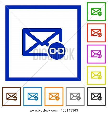 Set of color square framed Mail attachment flat icons