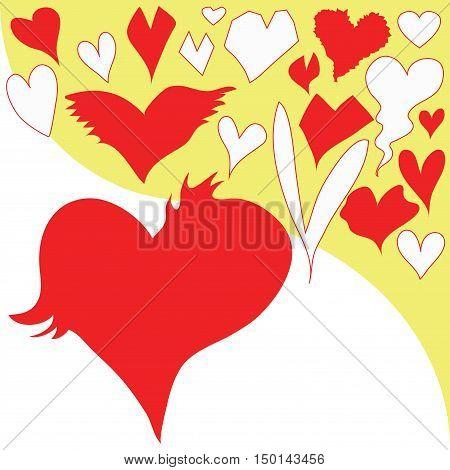 Heart many shapes cartoon symbol illustration design.