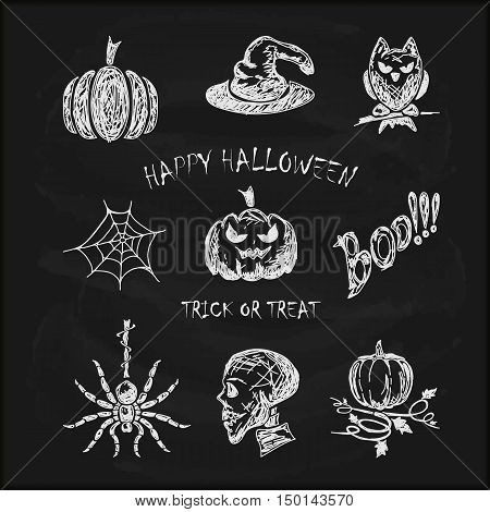 Halloween background set of scary sketches icons, drawn in white chalk on a black chalkboard, holiday theme, illustration.