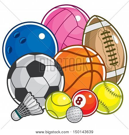 Vector set of colorful Sport Ball Icon