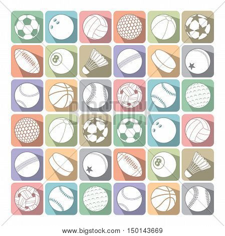 Vector Set of Different Sport Ball Icon