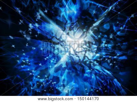 Abstract background with blurred magic neon blue light rays and stars. 3D illustration