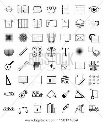 Print icons, prepress set. Vector offset polygraphy, typography in thin line style. Graphic design print pictogram outlines. Set print shop, publishing house.