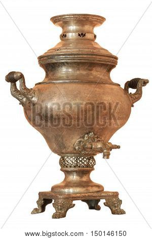 The samovar steam Warsaw XIX century isolated on white