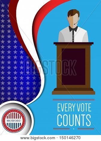 Digital vector usa election with candidate tribune and every vote counts, flat style