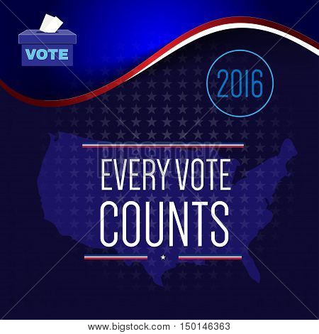 Digital vector usa election with vote box and every vote counts, flat style