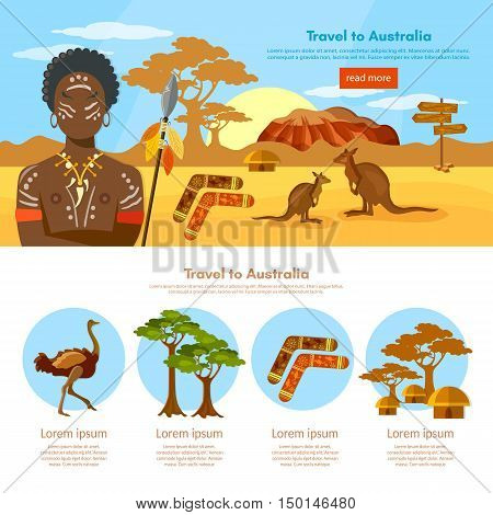Australia travel infographics template Australia people and animals Australian aborigines kangaroo ostrich vector illustration