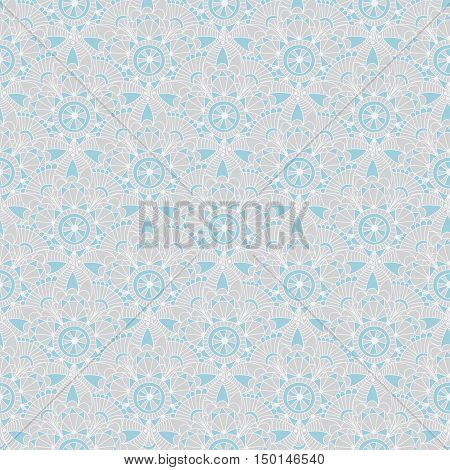 Seamless gray-blue vintage pastel pattern with abstract flowers vector