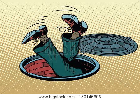 The man fell into a manhole underground sewer, pop art retro vector illustration