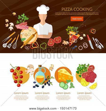 Making pizza banner infographics cook pizzeria pizza ingredients vector illustration