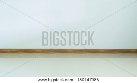Empty Room Interior, White Tile Floor And White Mortar Wall Background
