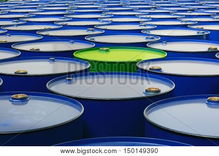 metal barrels of blue color and one green