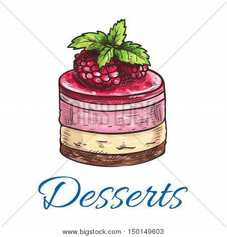 Fruit dessert or berry cake sketch icon with chocolate biscuit and sponge cake base, fruit cream filling and top with raspberry and berry jelly. Dessert recipe, pastry shop and cafe menu design