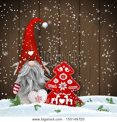 Nisser in Norway and Denmark, Tomtar in Sweden or Tonttu in Finnish, Scandinavian folklore elves, nordic christmas motive, Tomte standing in front of brown wooden wall in snow, with decorated heart and tree, vector illustration, eps 10 with transparency