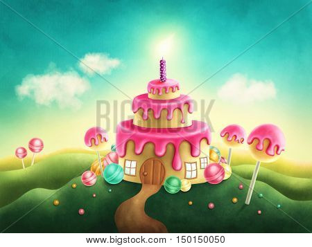Fantasy sweet land with birthday cake and candle